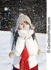 Having fun in winter scene