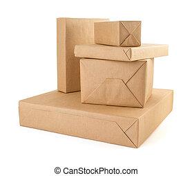 papelão, caixa, ligado, branca, fundo,