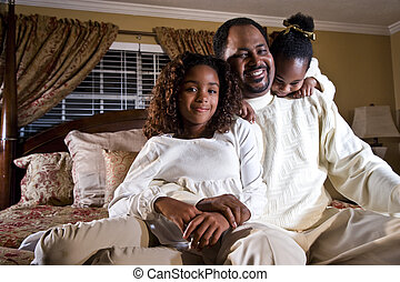 Daddy with his little girls - Father with two little...