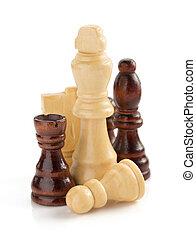 ajedrez, figuras, en, white, ,