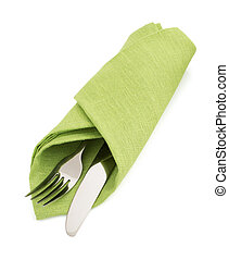 knife and fork at napkin on white - knife and fork at napkin...