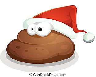 Funny Dung With Santa Hat - Illustration of a cartoon dog...