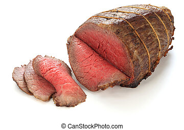 roast beef isolated on white background