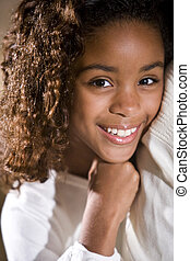 Pretty child - Close-up of pretty African American 10 year...