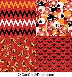 Set of four seamless african patterns