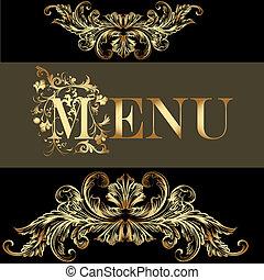 menu, disegno, in, vendemmia, stile,