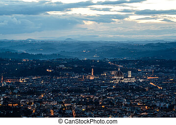 View of Florence at sunset.