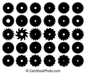circular - Black silhouettes of different circular saw...