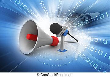 alto-falante, microfone
