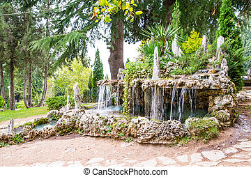 Waterfall in the garden near lake Ohrid Macedonia