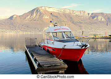 Firefighter boat moored at the dock