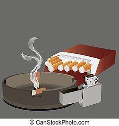 Cigarretter, askkopp, tändare,