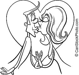 kissing couple in love coloring page - Black and White...