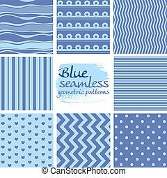 Set of blue seamless geometric patterns on white 2