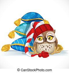 Cute owlet in a cap sits near a pile of pillows and wants to...