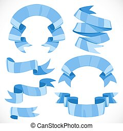 Set of vector festive blue ribbons various forms for decoration isolated on white background 1