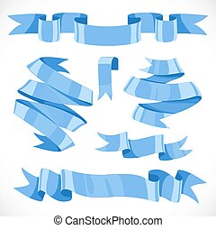Set of vector festive blue ribbons various forms for decoration isolated on white background 2