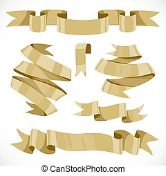Set of vector festive golden ribbons various forms for...