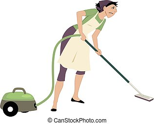 Vacuuming - Annoyed woman using a vacuum cleaner, vector...