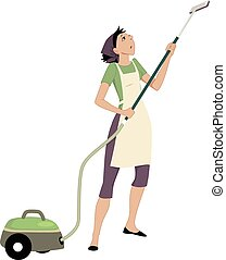 Woman with a vacuum cleaner