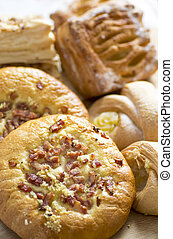 Baked goods - A variety of tasty baked goods from a bakery.