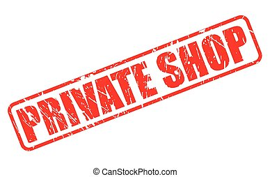 Private shop red stamp text on white