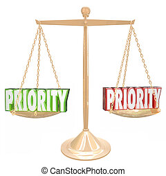 Priority 3d Words Weighing Most Important Jobs Tasks Scale -...