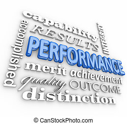 Performance 3d Word Collage Job Task Completed Achievement