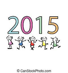 2015 new year colorful children celebration