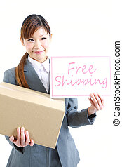Free shipping - studio shot of young Japanese businesswoman...