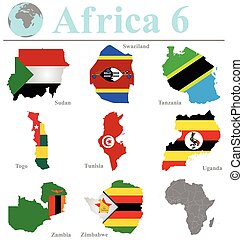Africa Collection 6 - Flags of Africa collection 6 overlaid...