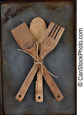 Wooden Utensils Tied With Twine - High angle shot of three...