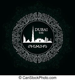 Dubai skyline silhouette on vintage background, vector...