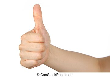 thumb up gesture of female hand on white background