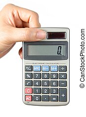electronic calculator - female hand with an electronic...
