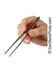 tweezers - female hand with tweezers on white background