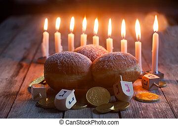 Hannukah - Jewish holiday hannukah symbols - menorah,...