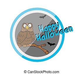 Happy Halloween Owl Vector Graphic