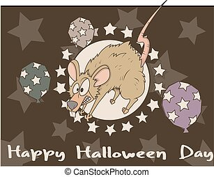 Scared Rat Halloween Graphic - Retro Scared Mouse Halloween...