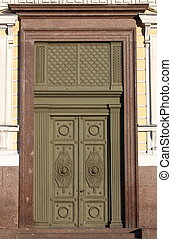 Renaissance style front door in Saint Petersburg, Russia