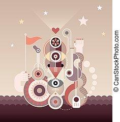 Abstract Art Composition - Abstract art composition. Vector...
