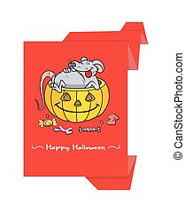 Halloween Graphic Paper Banner - Funny Mouse in Pumpkin...