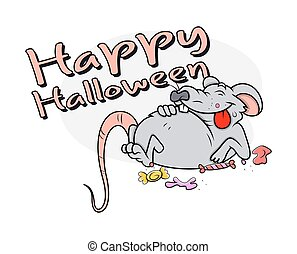 Halloween Funny Rat Character - Funny Laughing Rat Lying...