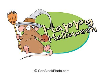 Halloween Funny Rat with With Hat - Funny Witch Rat...