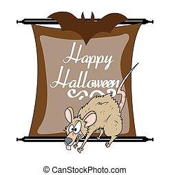 Halloween Scared Rat Character - Cartoon Spooky Halloween...