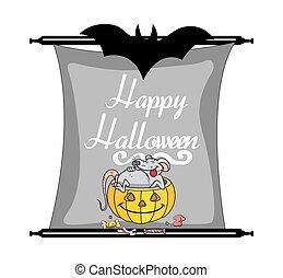 Halloween Banner Vector - Halloween Pumpkin with Funny Rat...
