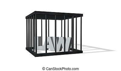 law - the word law in a cage on white background - 3d...