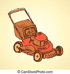 Sketch lawn mover in vintage style