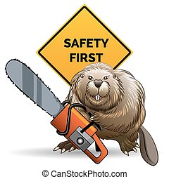 Beaver with a chainsaw - Humorous illustration of beaver...