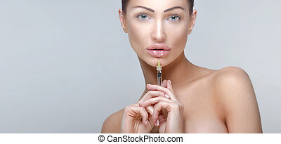 Botox injections - Beauty portrait of attractive woman...
